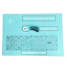Kit Base de Corte Com Cortador Circular e Régua-Azul Tiffany